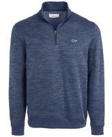 Greg Norman Mens Sweater Navy Blue Size XL Herringbone 1/4 Zip Pullover $70 002