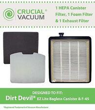 Dirt Devil F45 HEPA Canister,Foam & Exhaust Filters Part # 2KQ0107000, 2KQ010400