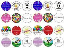 24 congratulations celebration  bun fairy cupcake toppers  party edible paper