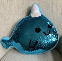 JUSTICE Girl Narwhal Unicorn Fish Sequin Kids Turquoise Decorative Pillow