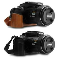 MegaGear Nikon Coolpix P1000 Ever Ready Leather Camera Half Case and Strap