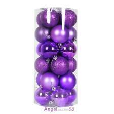 24pcs Christmas Round Glitter Ball Baubles Xmas Tree Hanging Home Decor Ornament