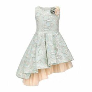 Childdkivy Girl's Dress Blue Size 10 A-Line Brocade Asymmetrical-Hem $48- #056