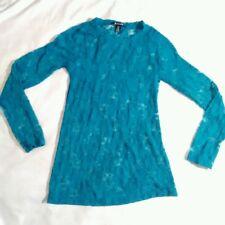 blue long sleeve bozzolo lace floral long sleeve  nylon spandex