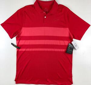 Nike Dry Vapor Red Stripe Dri Fit Golf Polo Shirt BV0474-657 Medium