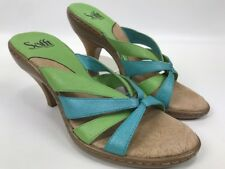 Sofft Strappy Sandals heels Shoes Slip On Pastel Green Blue Womens Size 7M