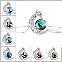 1x Women Ladies Silver Crescent Moon Cabochon Glass Wolf Pendant Chain Necklace