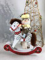 "Vintage Christmas Ornament 4"" Wood Elf on Rocking Horse Kurt Adler Hershey 1989"