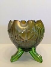 Antique EAPG Northwood Carnival Glass Daisy And Plume Footed Rose Bowl