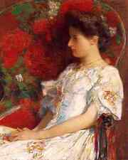 The Victorian Chair by Childe Hassam - Floral Seat Woman Dress 8x10 Print 1135