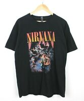 Nirvana Mens Short Sleeve Black Graphic Band Crew Neck T Shirt Tee - Size L