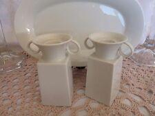 Kpm BERLIN WHITE Pair CANDLESTICKS + FREE Oval Tray - Designer Enzo Mari, 1996