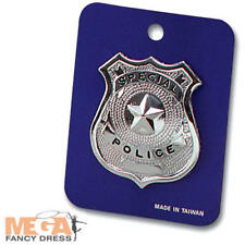 Metal Police Badge Fancy Dress Police Cop Officer Adults Kids Costume Accessory