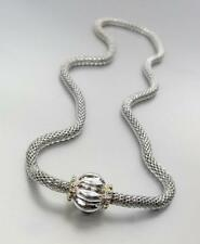Designer BALINESE Silver Mesh Chain Glacier Magnetic Scalloped Clasp Necklace