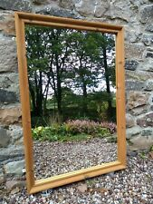 Large Wooden Framed Mantle Wall Mirror. Antique Pine. Rustic country 92 x 61cm A