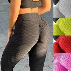 Women's Yoga Fitness Anti-Cellulite Leggings Pants Solid Lifting Elastic Pants