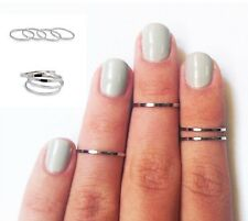 5pc Simple Plain Band Knuckle Midi Mid Finger Tip Stacking Ring Punk Nail Gift