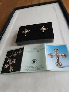 1997 Avon Smithsonian Institution Gellatly Cross Pierced Earrings