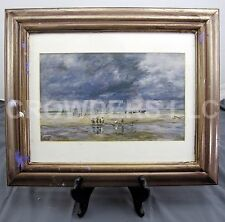 "Eugene Louis Boudin 1893 Figures on a Beach Matted/Framed 12x7"" Print MFA Boston"