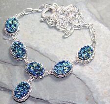 Silver Vintage Style Golden Blue Rainbow Titanium Druzy Necklace WN10408