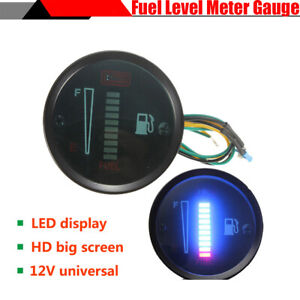 Multi-color LED Display Car SUV Motorcycle Fuel Level Meter Gauge Iron Housing