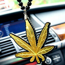 Cannabis Leaf Hellaflush Car Rearview Mirror Hanging Car interior Ornament Gold