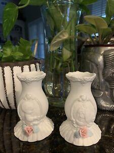 "Vintage 1994 Enesco Precious Moments Porceline 4"" Unity Wedding Candle Holders"