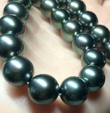 """NEW 18""""12-13MM NATURAL SOUTH SEA BLACK ROUND PEARL NECKLACE"""