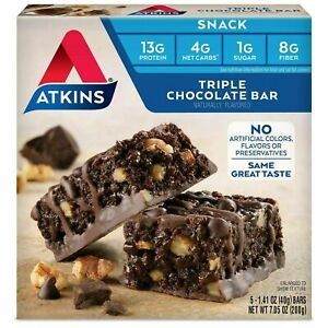 Atkins Snack Bar, Triple Chocolate, Keto Friendly, 7.05 Ounce (Pack of 1)
