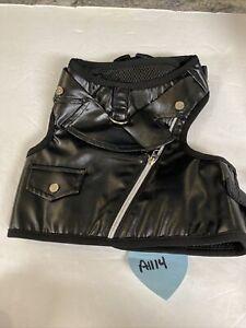 Martha Stewart Faux Leather Biker Tough Dog Harness Vest Black Large M59406