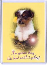 PET PUPPY DOG I'M GONNA SHAG THIS BOOT UNTIL IT SPLITS POSTCARD GO-CARD ADVERT