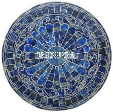 40'' Marble Dining Corner Table Top Lapis Stone Random Inlay Marquetry Decor