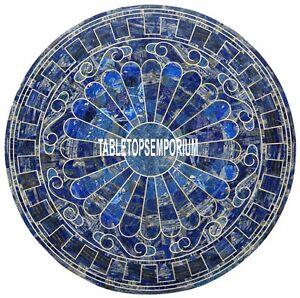 48'' Marble Dining Corner Table Top Lapis Stone Random Inlay Marquetry Decor