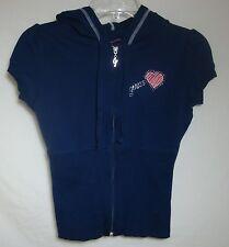 GUESS Rhinestone Hoodie Short Sleeve Zip Front Heart Navy Blue Knit Top Women XS