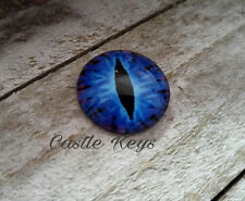 "Eye Cabochon Dragon Eye Cabochon 25mm 1"" Round Glass Cabochon Domed Blue"