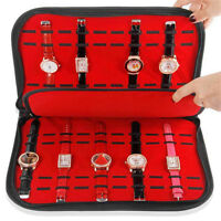 20 Slot Zip Lock Watch Display Box Leather Velvet Jewelry Storage Case Organizer