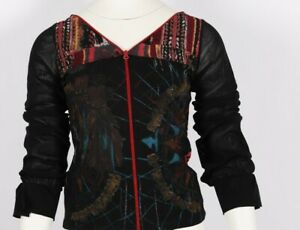 Save The Queen Ladies Sheer Sleeves UK L Zip Up Top Printed Used Good Condition