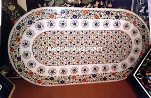 5'x3' Intricate Marble Dinette Table Top Inlaid Indien Natural Multi Decor M226