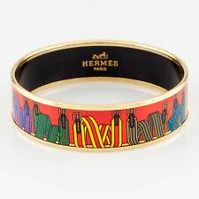 "Hermes Enamel ""Les Sangles"" Gold-Plated Bangle 3/4"" Wide"