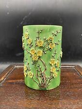 Antique Chinese Green Glazed plum blossom Porcelain Brush Pot Marked Qianlong