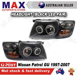 Pair Headlights Lights + Indicators Black LED For Nissan Patrol GU 1997-2007