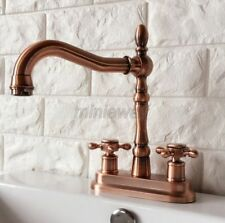 """Antique Red Copper 4"""" Centerset Bathroom Two Holes Basin Faucet Sink Tap mrg050"""