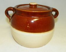 "Vintage Bean Pot Stoneware Brown & Cream No Maker 5-1/2"" Tall"