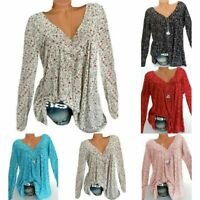 Womens Tops T-Shirt Boho Baggy Tunic  Long Sleeve Blouse Ladies Loose Plus Size