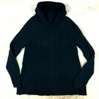 CAbi Womens Medium #3168 Navy Blue Cable Knit Funnel Cowl Neck Sweater