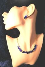 Sapphire Blue Diamante Gold Teardrop Necklace Earrings Set Crystal Bling Lady B6