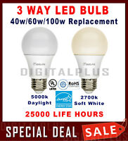 3 Way LED Bulb 40w 60w 100w Replacement 4/8/14W Daylight 5000K Soft White 2700