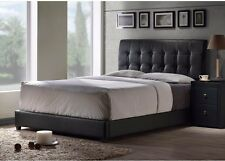 King Size Bed Frame with Faux Leather Padded Tufted Headboard Low Profile Black