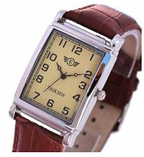 Mans Mens Silver Rectangular Vintage Dress Watch Brown Leather Strap
