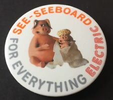 Vintage Badge Seeboard Electric Creature Comforts Pigs 5.5cm Button Pin B020